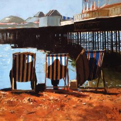 Painting 'Brighton Deckchairs' by Jeremy Sanders