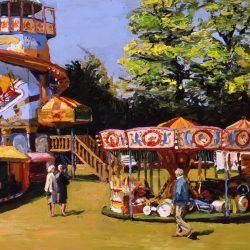 Painting 'Fairground, Windsor Horse Show' by Jeremy Sanders
