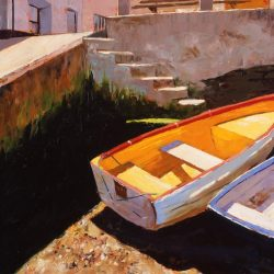 Painting 'Yellow Dingy, Salcombe' by Jeremy Sanders