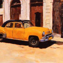 Painting 'Yellow Car, Havana' by Jeremy Sanders