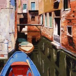 Painting 'Blue Boat, Venice' by Jeremy Sanders