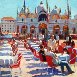 Painting 'Red Chairs, Venice' by Jeremy Sanders