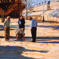 Painting 'Paris, Boules' by Jeremy Sanders