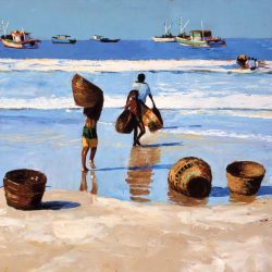 Painting 'Bringing in the Catch' by Jeremy Sanders