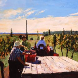 Painting 'La Vendage' by Jeremy Sanders