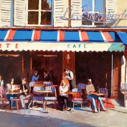 Painting 'Waiting Tables, Le Bonaparte' by Jeremy Sanders