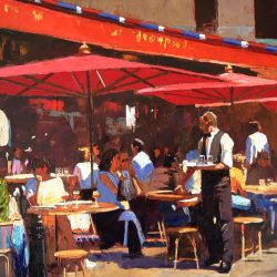 Painting 'Afternoon Drinks, Paris' by Jeremy Sanders
