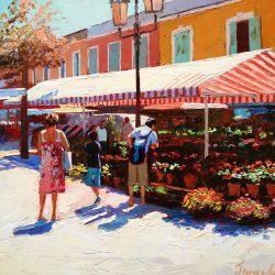 Painting 'Flower Market, Nice' by Jeremy Sanders