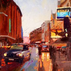 Painting 'Taxi Shaftesbury Avenue' by Jeremy Sanders