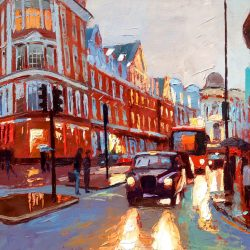 Painting 'Shaftesbury Avenue Evening' by Jeremy Sanders