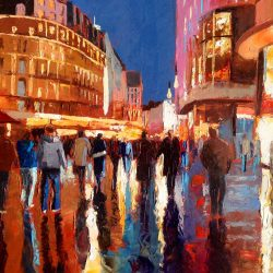 Painting 'Reflections in Leicester Square' by Jeremy Sanders