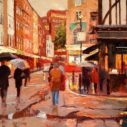 Painting 'Old Compton Street' by Jeremy Sanders