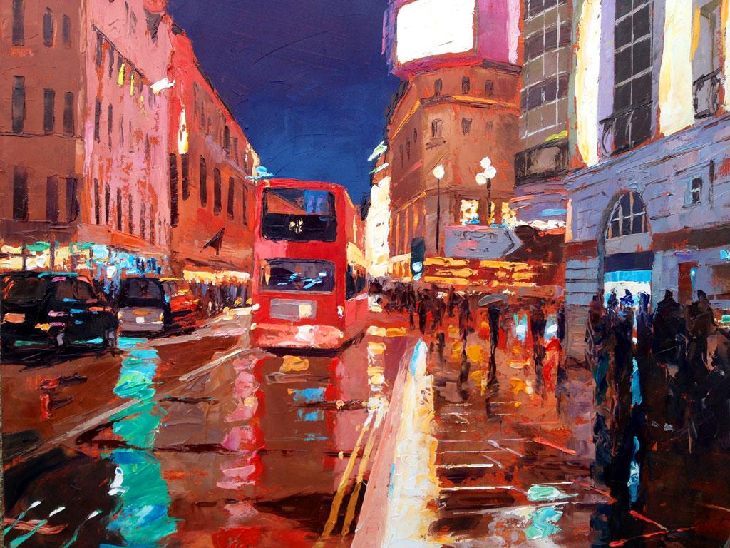 Painting 'Haymarket Bus' by Jeremy Sanders